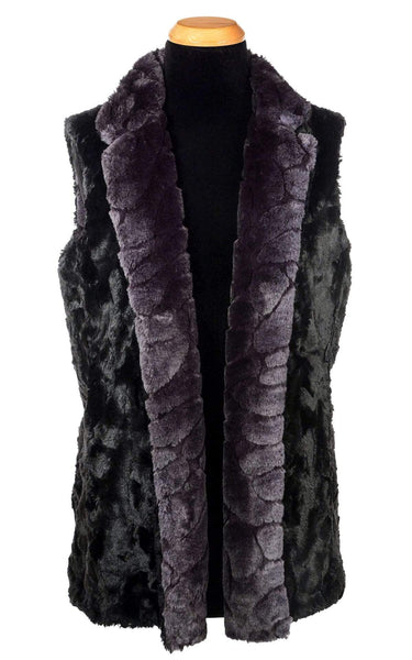 Pandemonium Millinery Mandarin Vest Short, Reversible less pockets - Luxury Faux Fur in Aubergine with Cuddly Fur in Black X-Small / Aubergine Dream / Black Outerwear
