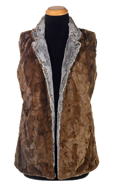 Mandarin Vest Short, Reversible less pockets - Luxury Faux Fur in Giant's Causeway with Cuddly Fur in Chocolate X-Small / Giant's Causeway / Chocolate Outerwear Pandemonium Millinery