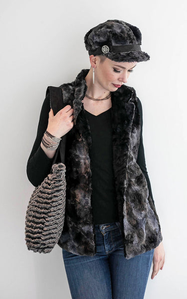 Mandarin Vest Short - Luxury Faux Fur in Highland with Cuddly Fur X-Small / Meadow / Black Outerwear Pandemonium Millinery