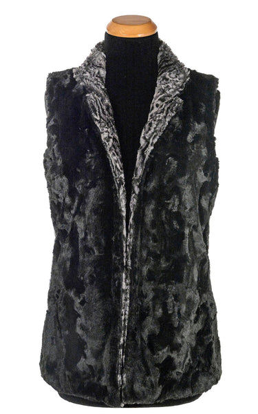 Mandarin Vest Short, Reversible less pockets - Luxury Faux Fur in Siberian Lynx with Cuddly Fur in Black X-Small / Siberian Lynx Outerwear Pandemonium Millinery
