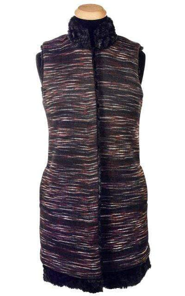 Pandemonium Millinery Mandarin Vest - Sweet Stripes with Assorted Faux Fur X-Small / Cherry Cordial / Cuddly Black Outerwear