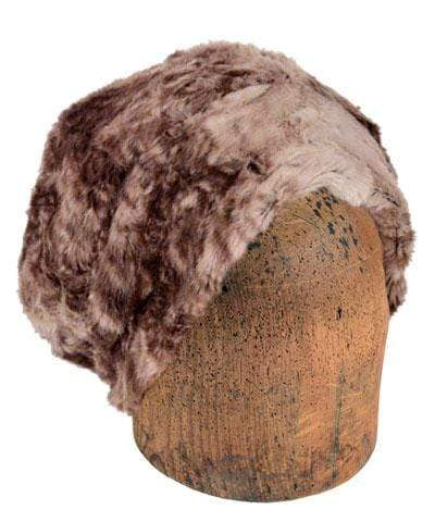Men's Beanie Hat, Reversible - Luxury Faux Fur in Fawn