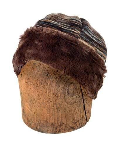 Men's Beanie Hat, Reversible - Sweet Stripes in English Toffee with Assorted Faux Fur