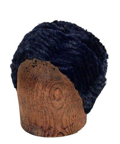 Men's Cuffed Pillbox, Reversible (Solid or Two-Tone) - Chevron Faux Fur Medium / Chevron Navy - Solid Hats Pandemonium Millinery
