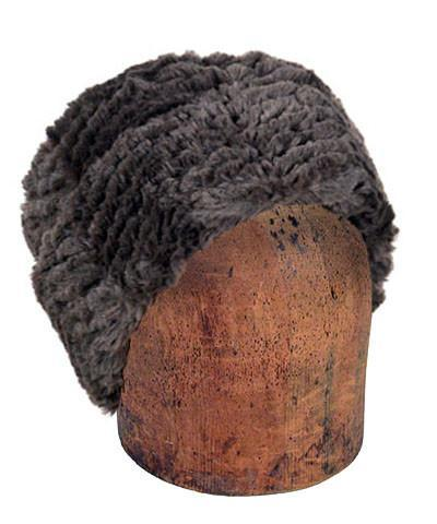 Men's Cuffed Pillbox, Reversible (Solid or Two-Tone) - Chevron Faux Fur Medium / Chevron Gray - Solid Hats Pandemonium Millinery