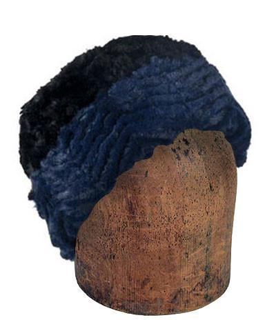 Men's Cuffed Pillbox, Reversible (Solid or Two-Tone) - Chevron Faux Fur Medium / Chevron  Navy / Black Hats Pandemonium Millinery