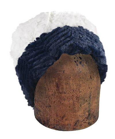 Men's Cuffed Pillbox, Reversible (Solid or Two-Tone) - Chevron Faux Fur Medium / Chevron Navy / Ivory Hats Pandemonium Millinery