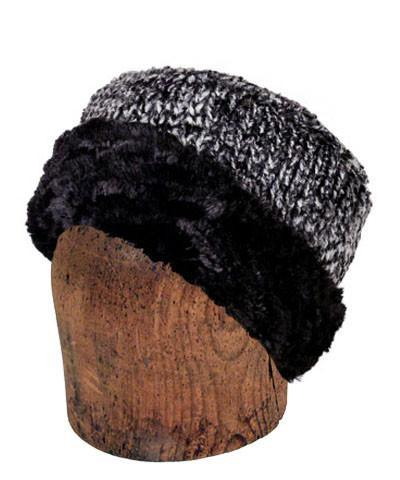 Men's Cuffed Pillbox, Reversible (Solid or Two-Tone) - Cozy Cable in Ash Faux Fur Medium / Cozy Cable in Ash - Solid Hats Pandemonium Millinery