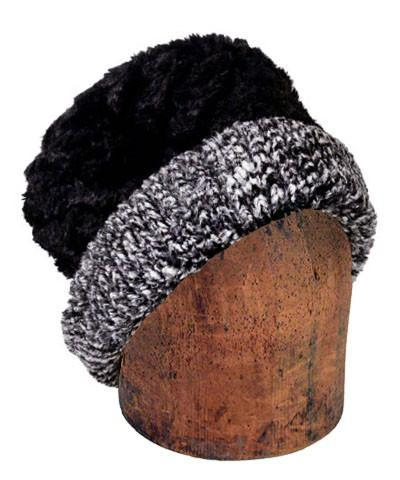 Men's Cuffed Pillbox, Reversible (Solid or Two-Tone) - Cozy Cable in Ash Faux Fur Medium / Cozy Cable in Ash / Black Hats Pandemonium Millinery