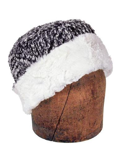 Men's Cuffed Pillbox, Reversible (Solid or Two-Tone) - Cozy Cable in Ash Faux Fur Medium / Cozy Cable in Ash / Ivory Hats Pandemonium Millinery