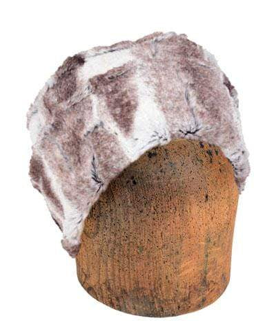 Men's Cuffed Pillbox, Reversible (Solid or Two-Tone) - Luxury Faux Fur in Birch