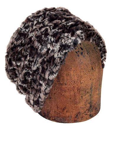 Men's Cuffed Pillbox, Reversible (Solid or Two-Tone) - Luxury Faux Fur in Calico Medium / Calico - Solid Hats Pandemonium Millinery