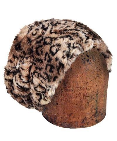 Men's Cuffed Pillbox, Reversible (Solid or Two-Tone) - Luxury Faux Fur in Carpathian Lynx Medium / Carpathian Lynx - Solid Hats Pandemonium Millinery