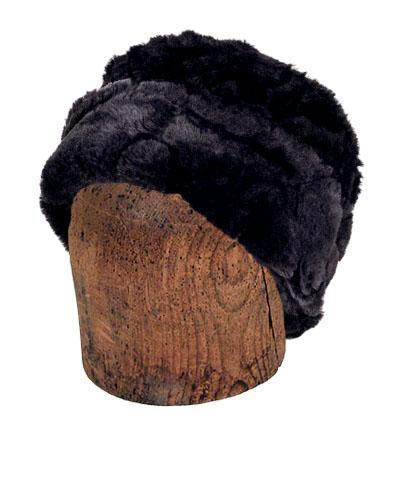Men's Cuffed Pillbox, Reversible (Solid or Two-Tone) - Luxury Faux Fur in Dream (EBONY DREAM - LARGE TWO-TONE ONLY)