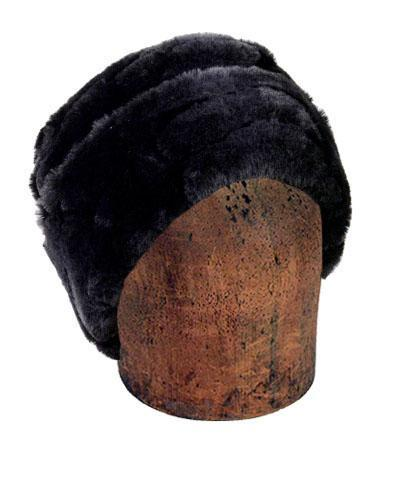 Men's Cuffed Pillbox, Reversible (Solid or Two-Tone) - Luxury Faux Fur in Dream Medium / Ebony Dream - Solid Hats Pandemonium Millinery