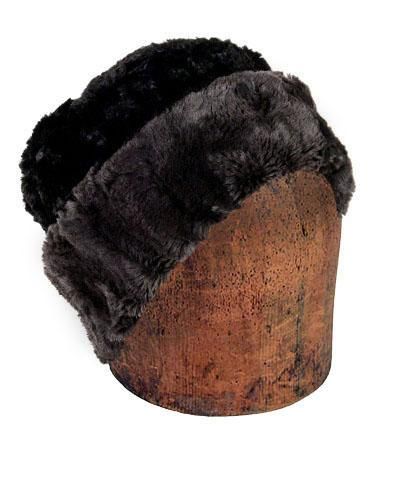 Men's Cuffed Pillbox, Reversible (Solid or Two-Tone) - Luxury Faux Fur in Espresso Bean Medium / Espresso Bean - Solid Hats Pandemonium Millinery