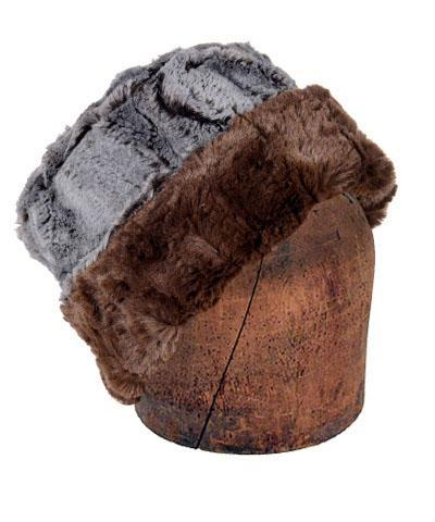 Men's Cuffed Pillbox, Reversible (Solid or Two-Tone) - Luxury Faux Fur in Giant's Causeway Medium / Giant's Causeway - Solid Hats Pandemonium Millinery