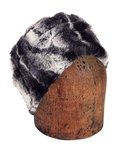 Pandemonium Millinery Men's Cuffed Pillbox, Reversible (Solid or Two-Tone) - Luxury Faux Fur in Honey Badger Medium / Honey Badger Hats