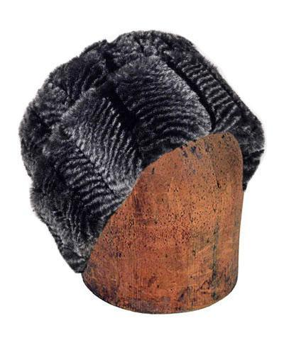Men's Cuffed Pillbox, Reversible (Solid or Two-Tone) - Luxury Faux Fur in Nightshade Medium / Nightshade Hats Pandemonium Millinery