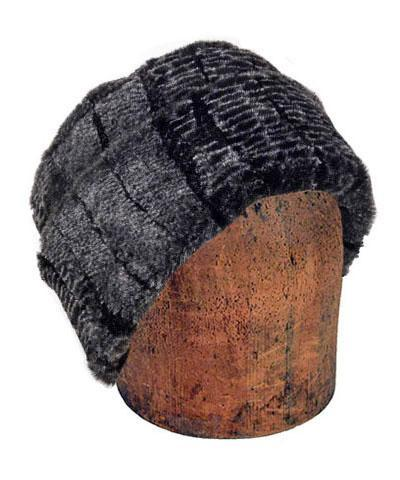 Men's Cuffed Pillbox, Reversible (Solid or Two-Tone) - Luxury Faux Fur in Rattlesnake Ridge Medium / Rattlesnake Ridge Hats Pandemonium Millinery