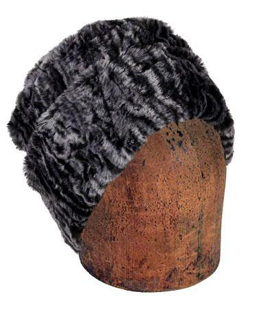 Men's Cuffed Pillbox, Reversible (Solid or Two-Tone) - Luxury Faux Fur in Siberian Lynx Medium / Siberian Lynx / Black Hats Pandemonium Millinery