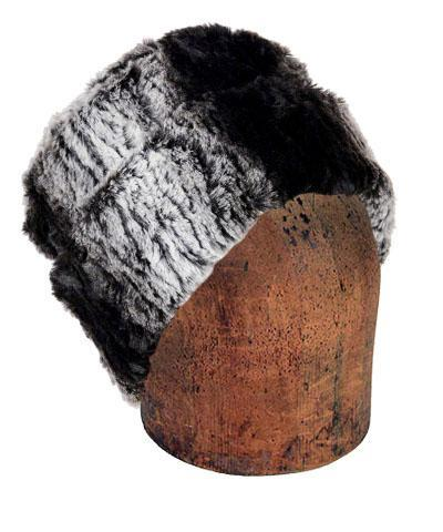 Men's Cuffed Pillbox, Reversible (Solid or Two-Tone) - Luxury Faux Fur in Smouldering Sequoia Medium / Smouldering Sequoia / Black Hats Pandemonium Millinery