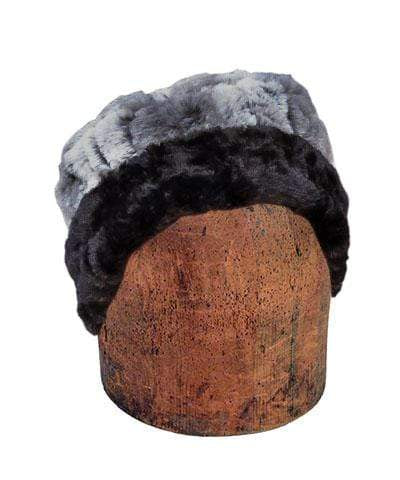 Pandemonium Millinery Men's Cuffed Pillbox, Reversible (Solid or Two-Tone) - Luxury Faux Fur in Stormy Night Medium / Stormy Night / Black Hats