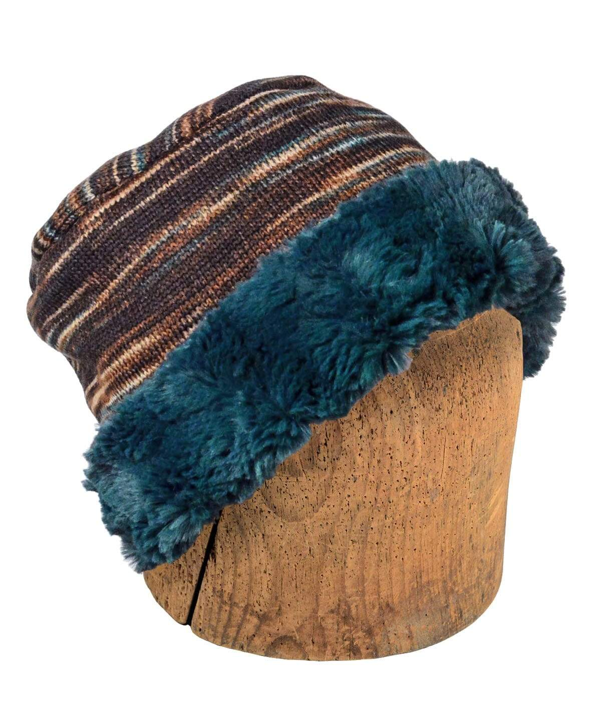 Men's Cuffed Pillbox, Reversible (Two-Tone) - Sweet Stripes in English Toffee with Assorted Faux Fur