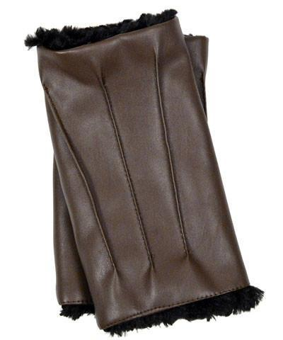 Men's Fingerless / Driving Gloves - Vegan Leather in Chocolate with Cuddly Faux Fur Vegan Chocolate / Black Accessories Pandemonium Millinery