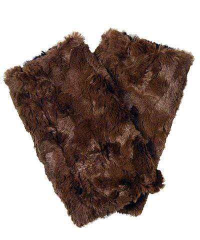 Pandemonium Millinery Men's Fingerless / Texting Gloves, Reversible - Cuddly Faux Fur in Sand Sand - Solid Accessories