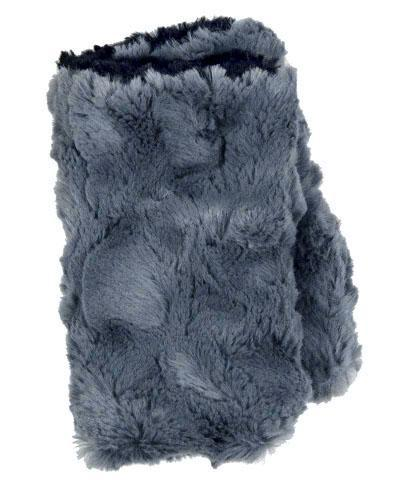 Men's Fingerless / Texting Gloves, Reversible - Cuddly Faux Fur in Slate Slate / Black Accessories Pandemonium Millinery