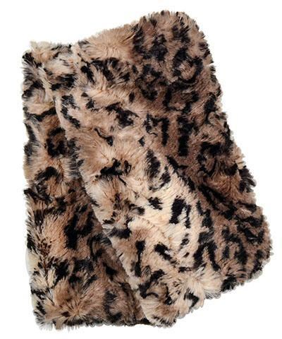 Men's Fingerless / Texting Gloves, Reversible - Luxury Faux Fur in Carpathian Lynx