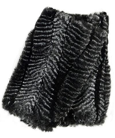 Men's Fingerless / Texting Gloves, Reversible - Luxury Faux Fur in Nightshade Nightshade Accessories Pandemonium Millinery