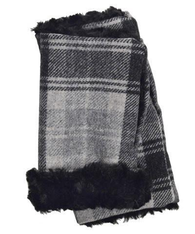 Men's Fingerless / Texting Gloves - Wool Plaid in Twilight with Cuddly Faux Fur Twilight / Cuddly Black Accessories Pandemonium Millinery