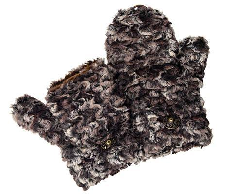 Men's Flip Top Mittens - Luxury Faux Fur in Calico Calico Accessories Pandemonium Millinery