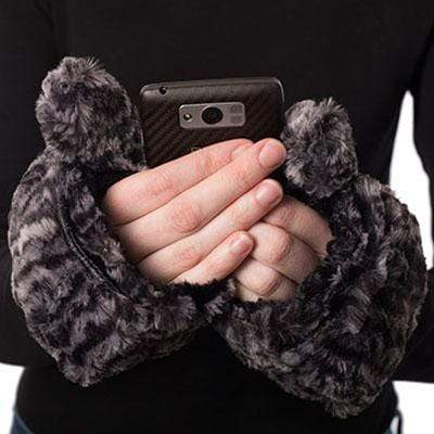 Pandemonium Millinery Men's Flip Top Mittens - Luxury Faux Fur in Honey Badger Honey Badger Accessories