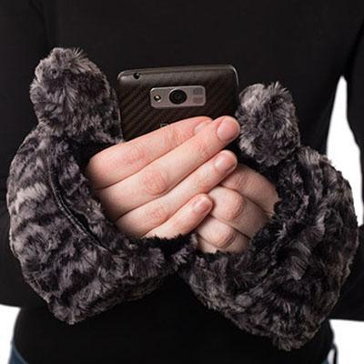 Men's Flip Top Mittens - Luxury Faux Fur in Siberian Lynx Siberian Lynx Accessories Pandemonium Millinery