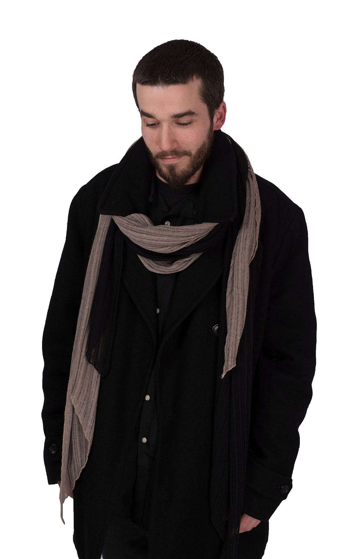 Men's Handkerchief Scarf - Cotton Voile, Two-Tone