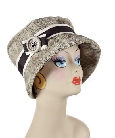 Molly Hat Style - Bongo in Beige Upholstery Medium / Bow Style Band - Cream/Chocolate / Button - Woven Hats Pandemonium Millinery