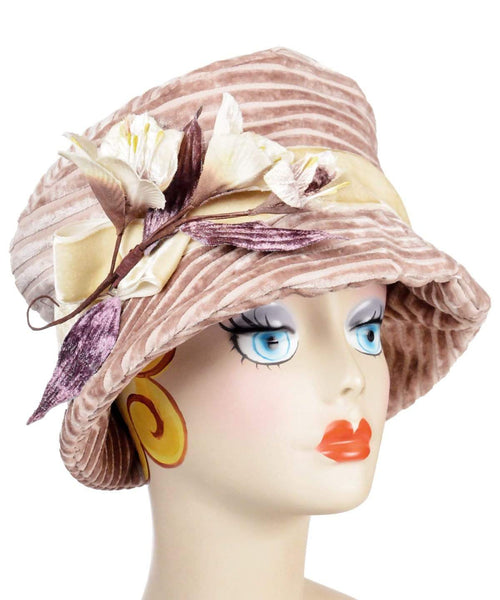 Pandemonium Millinery Molly Hat Style - Chenille in Cherry Blossom Medium / Velvet Band with Bow – Cream VE1 / Two Cream Flowers with Two Buds Hats