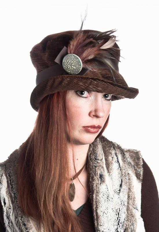 Molly Hat Style - Cohen in Chocolate Upholstery Medium / Band - Chocolate / Brooch - Feather Natural & Mauve / Button - Moss Hats Pandemonium Millinery