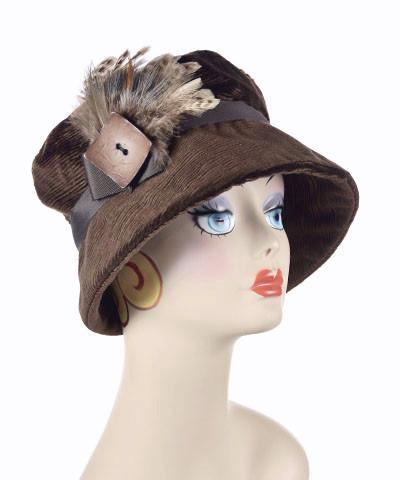 Molly Hat Style - Cohen in Chocolate Upholstery Medium / Band - Chocolate / Brooch - Feather Rooster & Pheasant / Button - Brown Hats Pandemonium Millinery