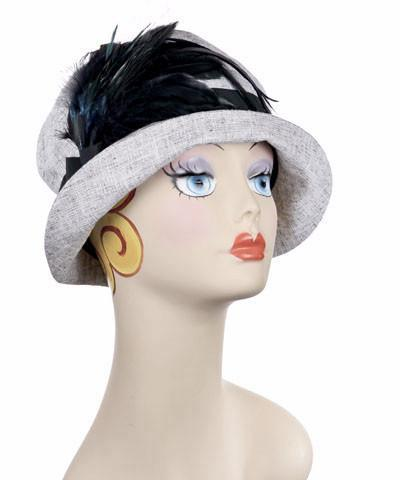 Molly Hat Style - Linen in Metallic Silver Medium / Band - Black / Brooch - Black Hats Pandemonium Millinery