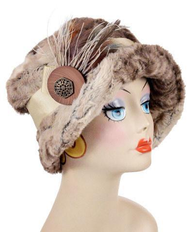Molly Hat Style - Luxury Faux Fur in Fawn Medium / Band - Beige / Brooch - Pheasant/Cream / Button Stack - Bown/Gold Hats Pandemonium Millinery