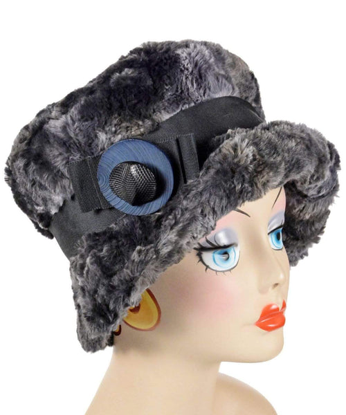 Pandemonium Millinery Molly Hat Style - Luxury Faux Fur in Highland in Skye Medium / Grosgrain Band - Black / Button Stack - Black & Navy Hats