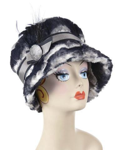 Molly Hat Style - Luxury Faux Fur in Ocean Mist Medium / Band - Black/Gray / Brooch - Silver Button & Black Feather Trim Hats Pandemonium Millinery