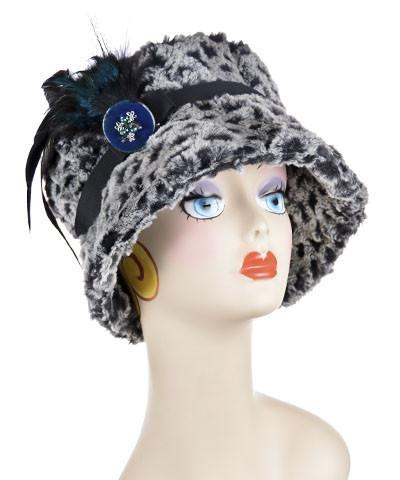 Molly Hat Style - Luxury Faux Fur in Snow Owl Medium / Band - Black / Brooch - Teal/Black Feather Hats Pandemonium Millinery