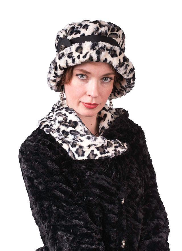 Molly Hat Style - Luxury Faux Fur in White Jaguar (Only One Medium Left!)