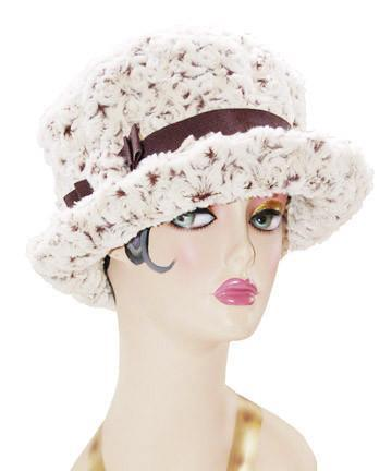 Molly Hat Style - Rosebud in Brown Faux Fur Medium / Band - Chocolate / Button - Matching Hats Pandemonium Millinery