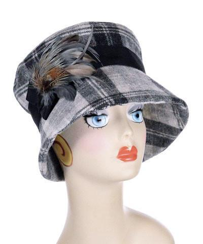 Molly Hat Style - Wool Plaid in Twilight Medium / Band - Black / Brooch Steel / Pheasant Feather Hats Pandemonium Millinery